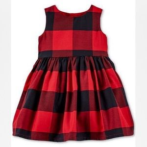 NWT! Carter's Red and Black checkered Dress